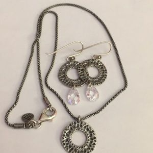 Silpada Set SS Oxidized Necklace and Earrings